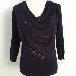 KimRogers Navy Lightweight Sweater w/Crochet Front